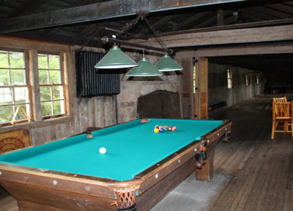 Pool Table in Bowling Alley Building